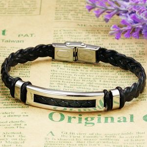 Mens Leather Bracelet Rectangular - men's jewellery