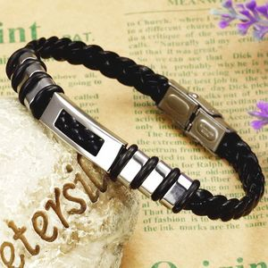 Mens Leather Bracelet Rectangular Style