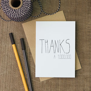 Thanks A Million Thank You Card - thank you cards