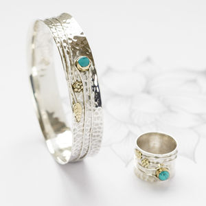 Turquoise And Silver Flower Ring And Bangle Set