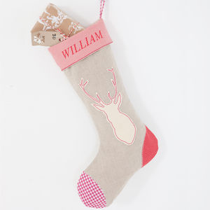 Linen Stag Stocking - personalised