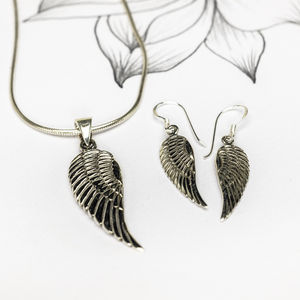 Silver Angel Wing Necklace And Earring Set - jewellery sale