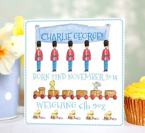 Personalised New Baby Boy Card 'Toys' - new baby cards