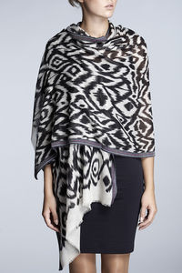 Printed Fine Wool And Silk Blend Scarf - pashminas & wraps