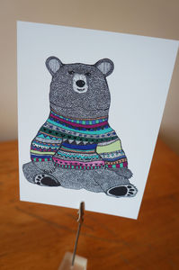 Jumper Bear Postcard