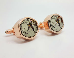 Clockwork Cufflinks Polygon In Rose Finish