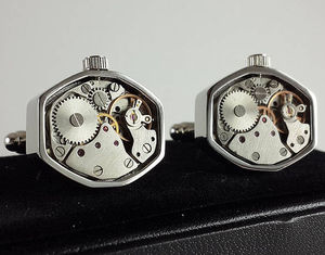 Decorative Geometric Clockwork Watch Cufflinks - mens