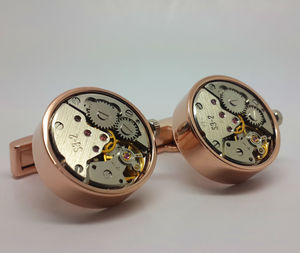Clockwork Cufflinks With Real Moving Parts In Rose