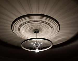 Bike Wheel Ceiling Light - bedroom