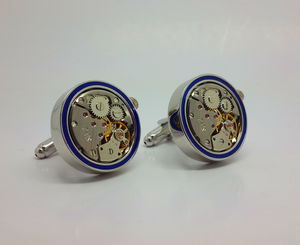 Clockwork Cufflinks With Real Moving Parts Blue Rim - men's jewellery
