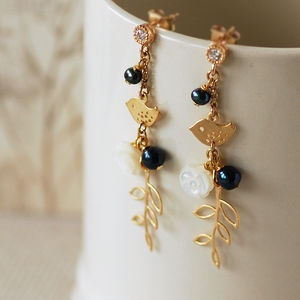 Bird On Branch Drop Earrings