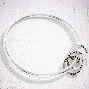 Silver Bangle With Tiny Text Birthday Beads