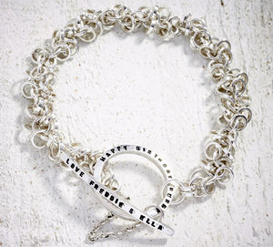 Multilink Silver Tiny Text Message Toggle Bracelet - bracelets & bangles