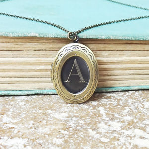 Personalised Locket Necklace With Engraved Initial