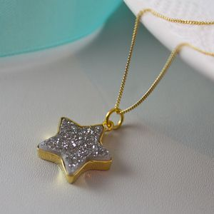 Gold Star Pendant With Druzy