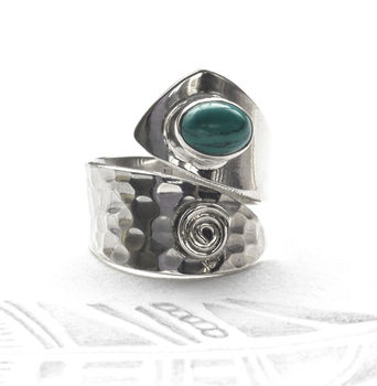Adjustable Turquoise Silver Ring