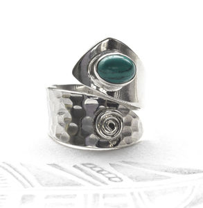 Adjustable Turquoise Silver Ring - women's jewellery
