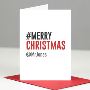 Personalised Geeky Hashtag Merry Christmas Card - personalised