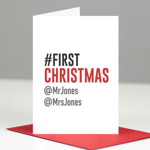 Personalised Geeky Hashtag First Christmas Card - baby's first christmas