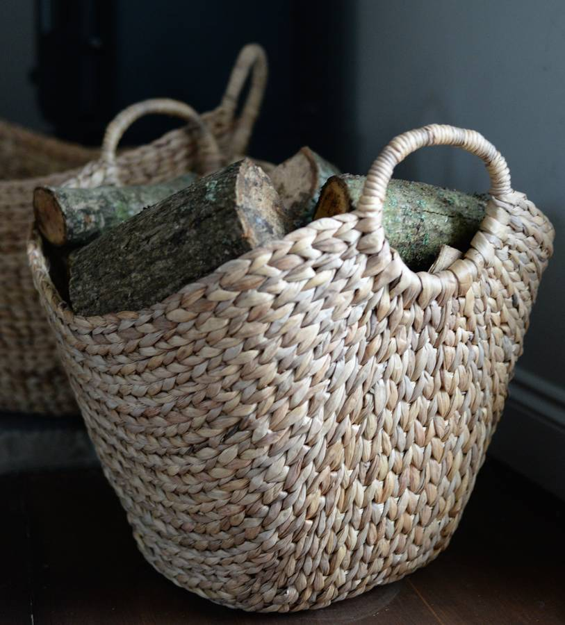 Basket Weaving Handles : Woven log basket with handles by the forest co