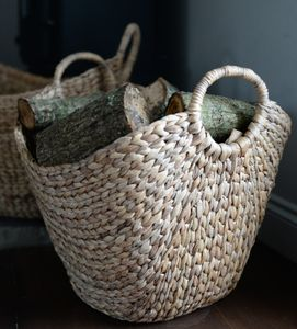 Woven Log Basket With Handles - bedroom