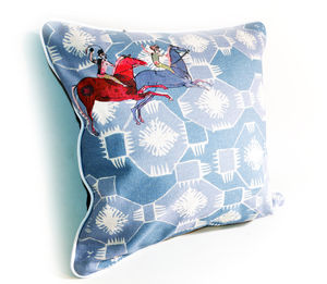 Galloping Horses Linen And Velvet Cushion - cushions