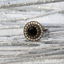 Silver Black Round Sultana Ring