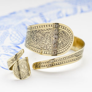 Hand Engraved Flower Brass Ring And Cuff Set - jewellery sets