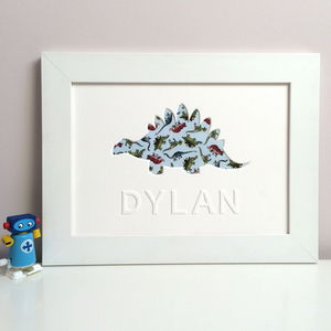 Personalised Child's Dinosaur Artwork - mixed media pictures for children