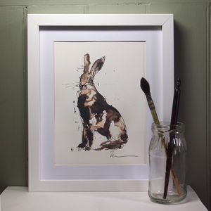 Sitting Hare Three Print And Original - animals & wildlife