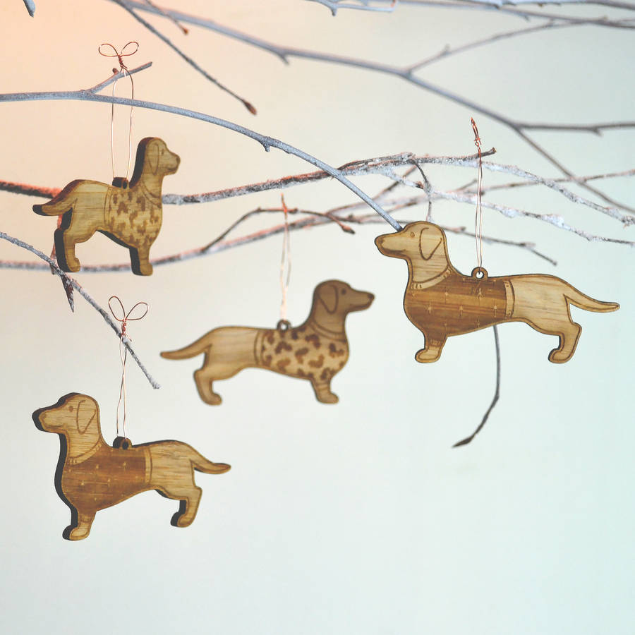Christmas Bamboo Dachshund Decorations By Oakdene Designs