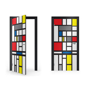Mondrian Abstract Art Vinyl Sticker For Door - wall stickers