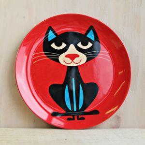 Vintage Cat Melamine Plate - tableware