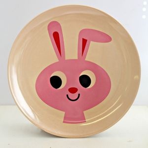 Vintage Rabbit Melamine Plate - children's tableware