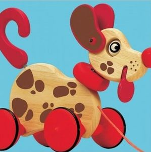 Djeco Wooden Pull Along Spotty Puppy - traditional toys & games