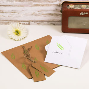 'Peas In A Pod' Card And Gift Wrap Set