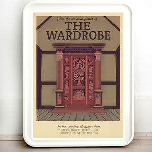 Narnia Wardrobe Retro Travel Print