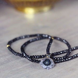 Black Spinel, Diamond And Amethyst Necklace - february birthstone