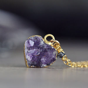 Diamond And Druzy Heart Necklace