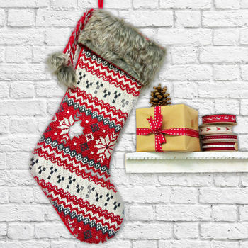 Nordic Snowflake Christmas Stocking