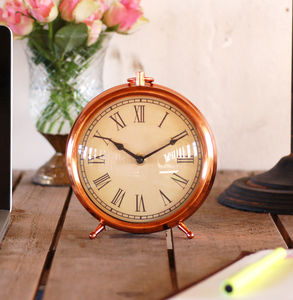 Copper Vintage Round Mantel Clock - bedroom