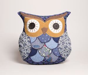 Vintage Owl Cushion In Blue