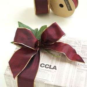 Wired Claret Ribbon With Gold Edges 10 Metre Roll