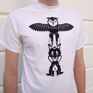 Totem Pole Woodland Animals Tshirt