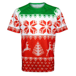 Men's Running Shirt Short Sleeved Christmas Design - christmas clothing & accessories