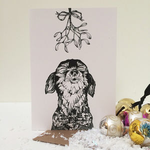 Snoggy Doggy Greeting Card - christmas cards
