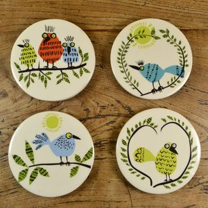Ceramic Bird Coasters - dining room