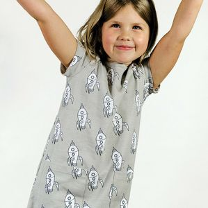Organic Rocket Print A Line Dress - clothing