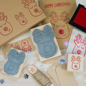 Christmas Red Nose Reindeer Rubber Stamp - cards & wrap