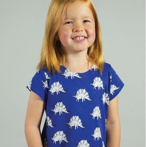 Organic Stegosaurus Print A Line Dress - clothing